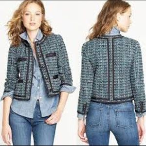 J. CREW Fanfare Jacket In Peacock Tweed Blazer 6